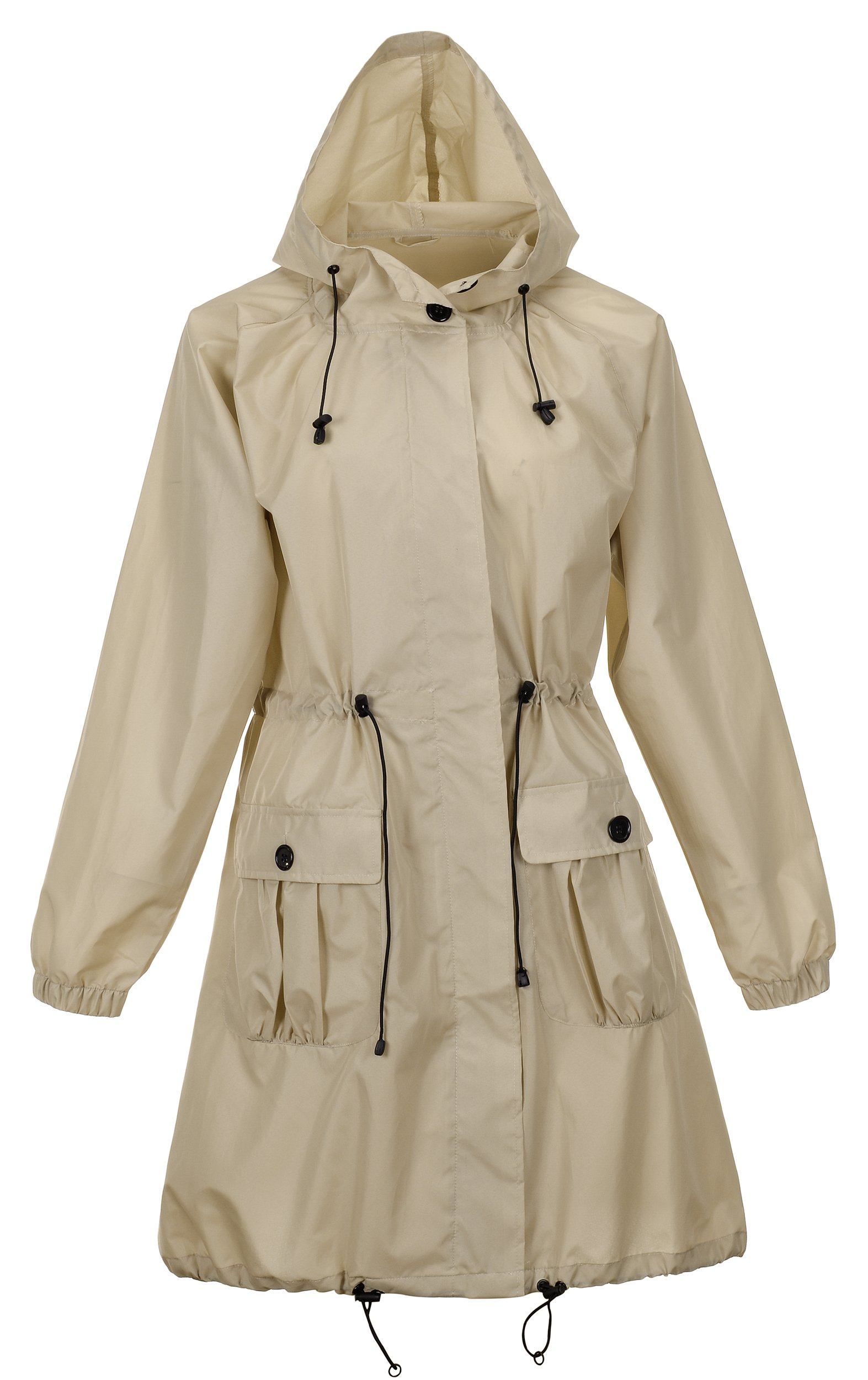 QZUnique Women's Lightweight Long Raincoat with Pockets Waterproof Packable Waist Tiecod Raincoats Windbreak Jackets Khaki