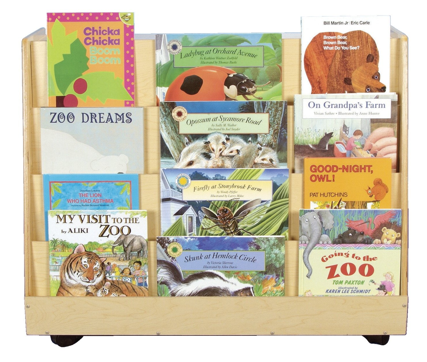 Childcraft 1318391 Mobile Double Sided Book Display/Shelf Storage, Wood, 36'' x 20'' x 30'', Natural Wood Tone