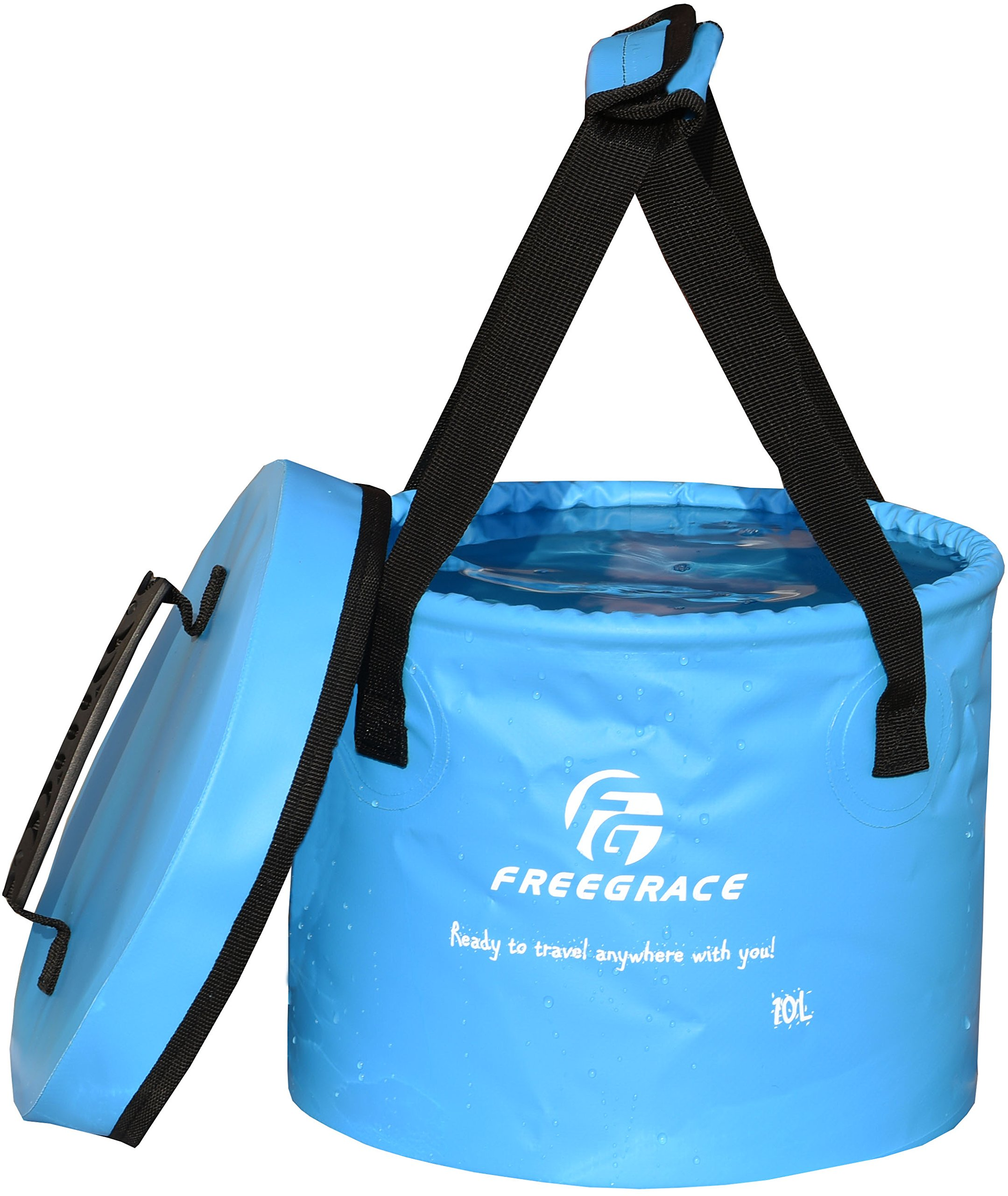 Freegrace Premium Collapsible Bucket - Multifunctional Folding Bucket - Perfect Gear for Camping, Hiking & Travel (Blue, 10L(Upgraded)) by Freegrace