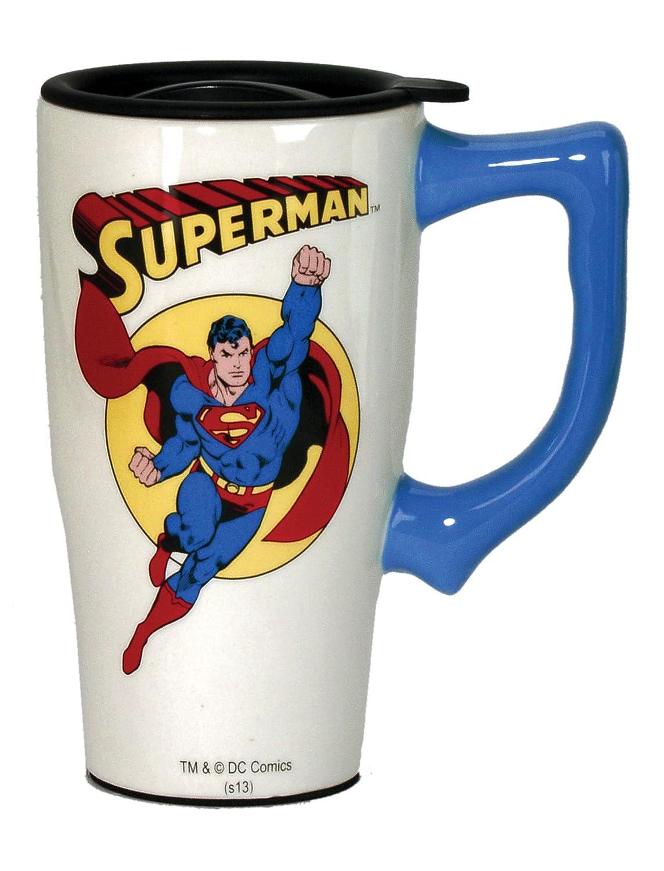 DC Comics Superman Travel Mug, White Spoontiques 12600