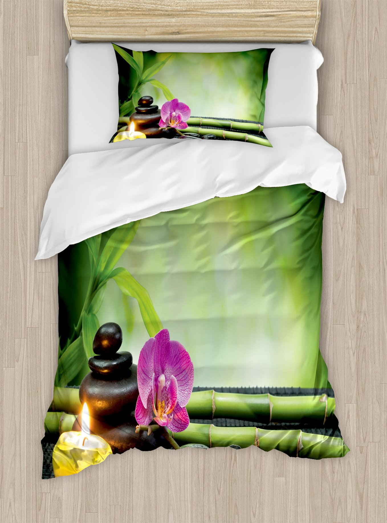 Ambesonne Spa Duvet Cover Set Twin Size, Orchid Bamboo Stems Chakra Stones Japanese Alternative with Feng Shui Elements, Decorative 2 Piece Bedding Set with 1 Pillow Sham, Apple Green Fuchsia