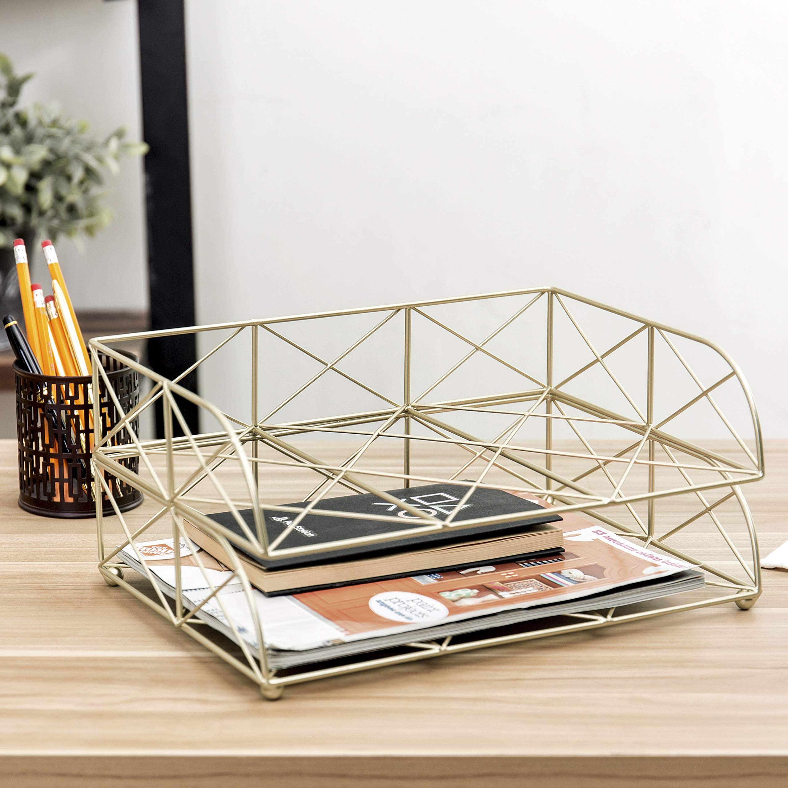 MyGift 2-Tier Geometric Light Gold-Tone Metal Desktop Stacked Letter Tray by MyGift (Image #2)