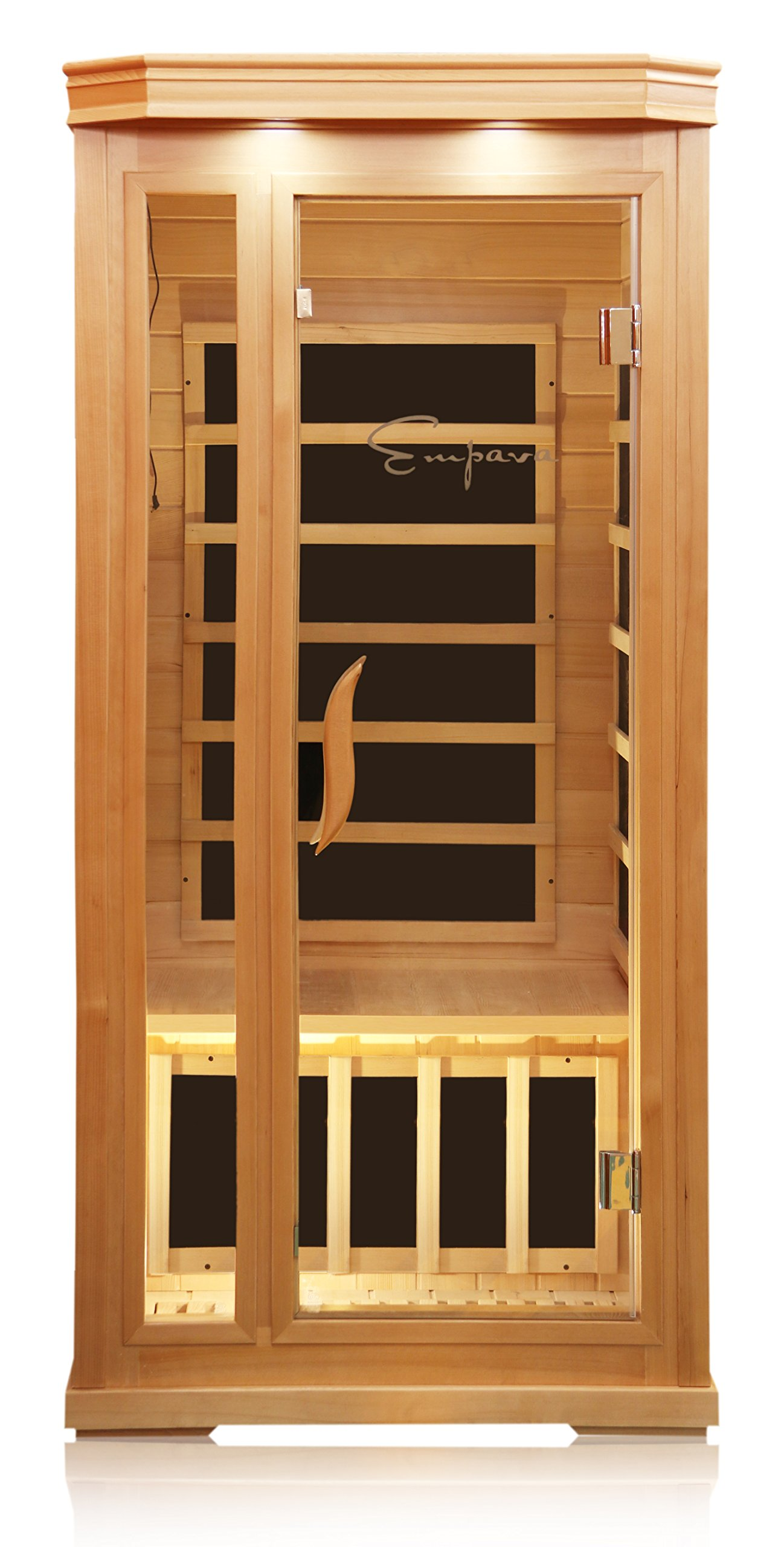 Empava 1-2 Person Far Infrared Sauna 6 Carbon Fiber Heaters Canadian Hemlock Wood Dry Sauna Room EMPV-SR-T1