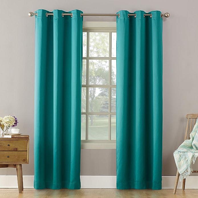 "95""x40"" Lazlo Energy Efficient Grommet Top Room Darkening Curtain Panel Marine - Sun Zero"