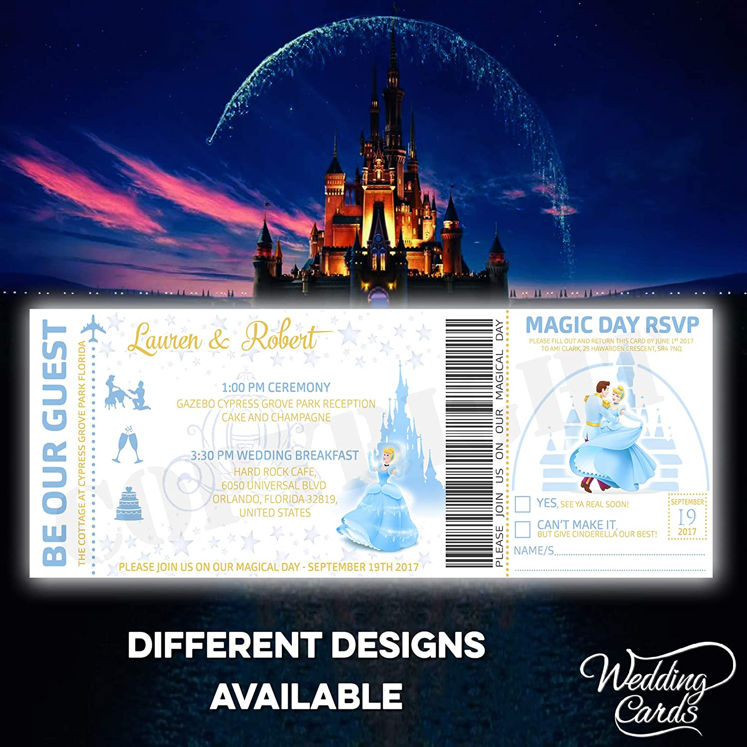 Cinderella Personalised Disney Wedding Birthday Ticket Invitations Party Invite Mickey Minnie Ariel Peter Pan Lion King Princess Prince Superman Personalised Any Size Any Colour Any Text A4 A5 A6 A7 Wedding Cards