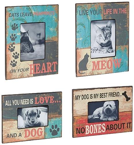 Imax Dog And Cat Photo Frames, Multi-Colour, Set of 4: Amazon.co.uk ...