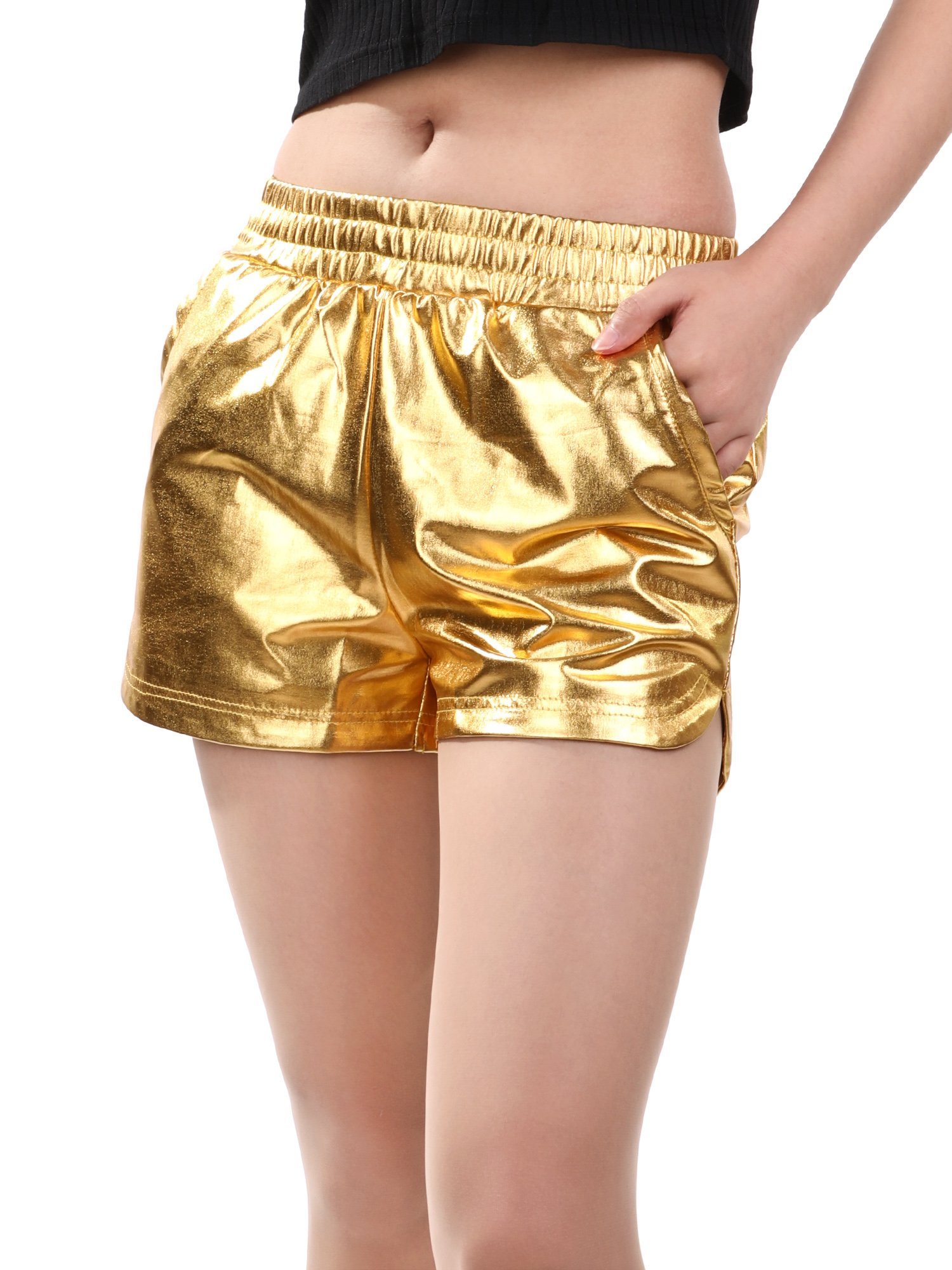 Skylety Metallic Shiny Shorts Women Sparkly Hot Shorts Girl Yoga Outfit Casual Loose Shorts (L Size, Gold) by Skylety (Image #7)