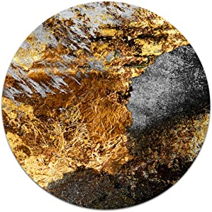 MyCozyCups Black Gold White Marble Mouse Pad - Round Rustic Modern Agate Background Mousepad for Laptop Computer, Women, Her, Best Friend - Cute Rustic Farmhouse Home Office Space Decor Non-Slip