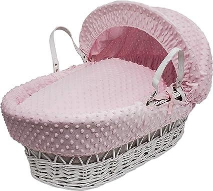 Pink Spots /& Stripes Moses Basket 4 Piece Dressing Basket Not Included