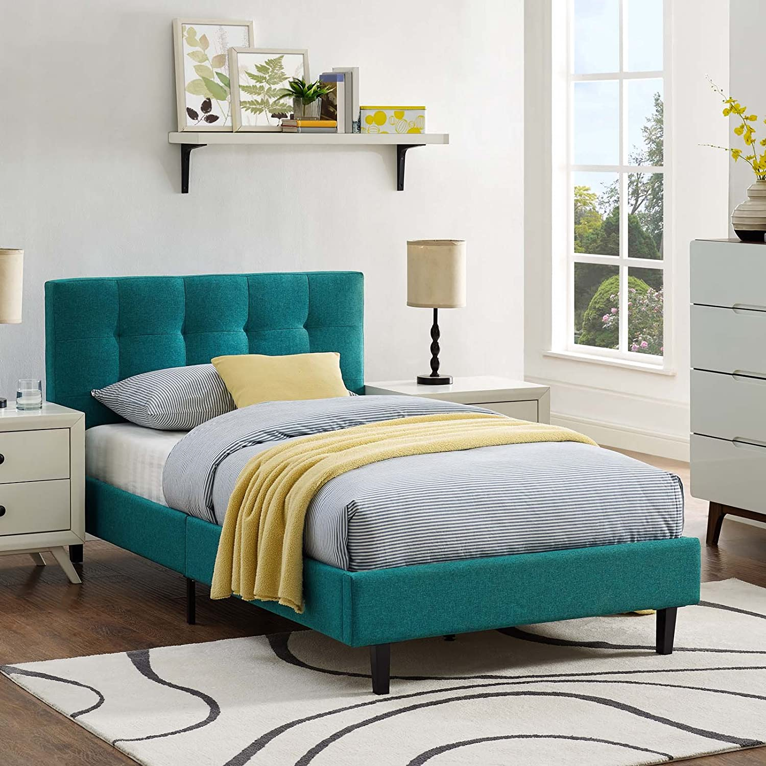 Modway Linnea Upholstered Teal Platform Bed with Wood Slat Support in Twin
