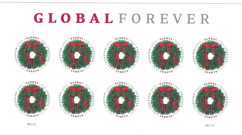 Usps Global Forever Stamp Evergreen Wreath Sheet Of 10