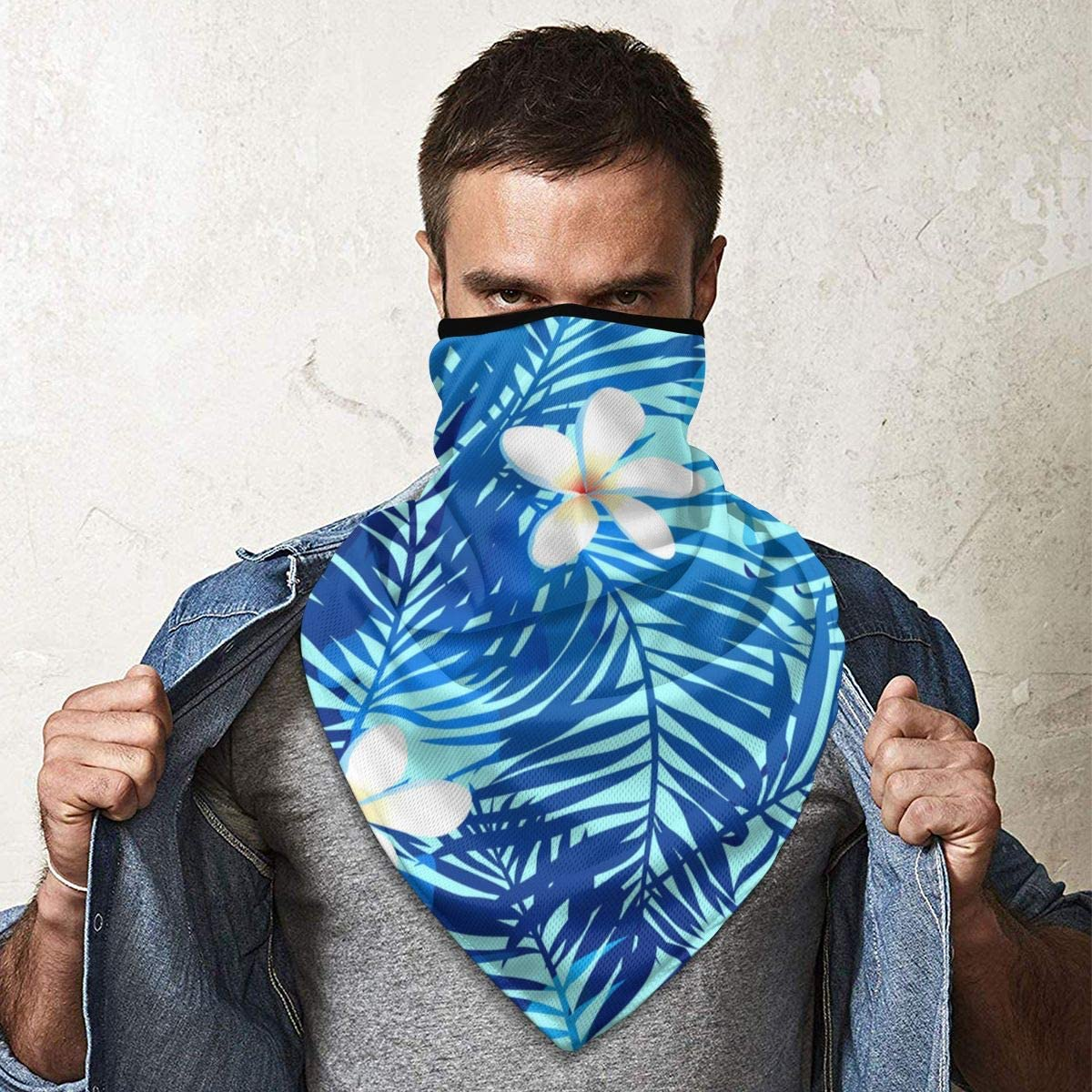 Wind-Resistant Face Mask/& Neck Gaiter,Balaclava Ski Masks,Breathable Tactical Hood,Windproof Face Warmer for Running,Motorcycling,Hiking-Tropical Palms Seamless Pattern in Blue with