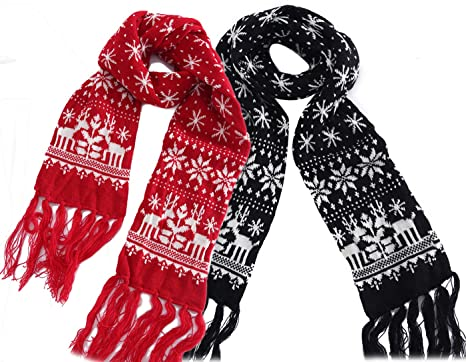 Mtfs Winter Warm Scarf Reindeer Snowflake Knit Scarf Lovely