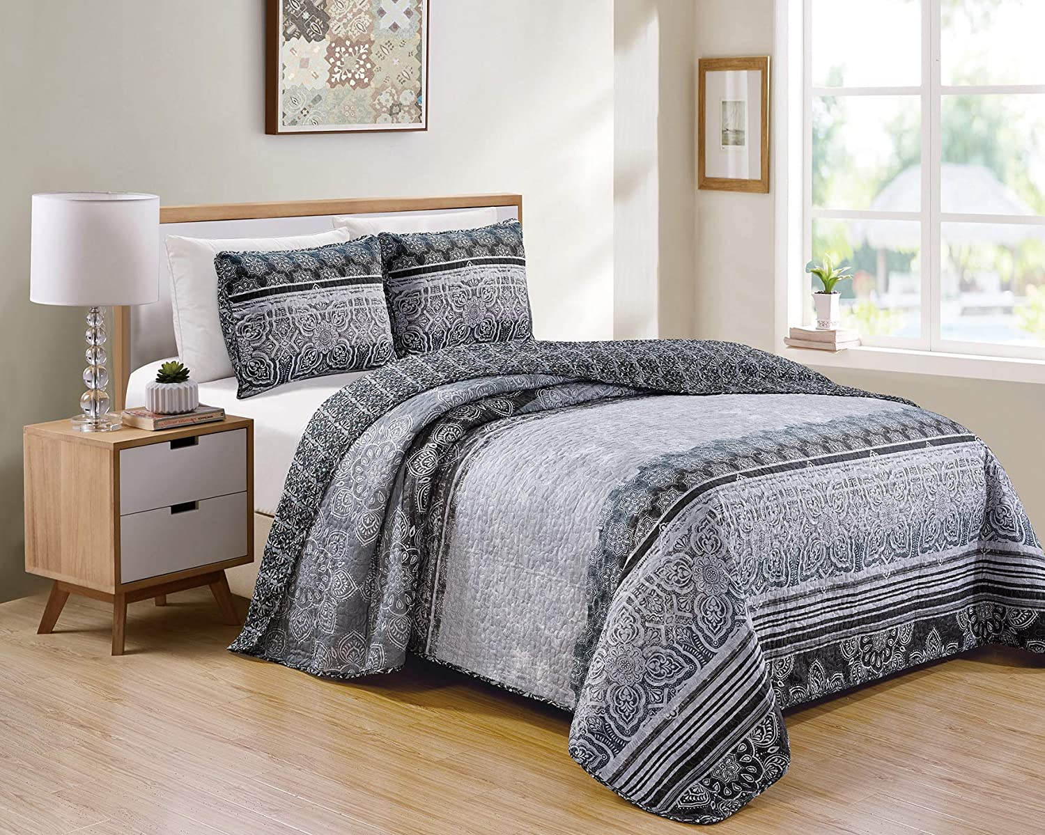 Better Home Style Modern Grey and Slate Ornamental Floral Motif Printed Design Reversible 3 Piece Quilt Coverlet Bedspread Quilt Bed Cover Set # 11391 (King/Cal-King)