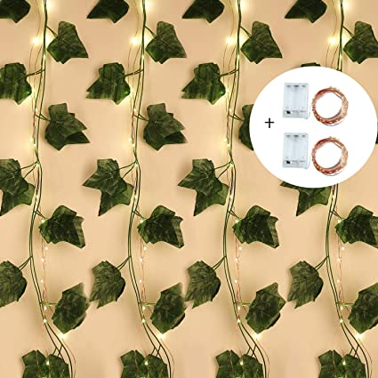 Hecaty Guirnalda de Hiedra Artificial con 100 Luces LED. Paquete de 12 Hojas Verdes Colgantes para Plantas, Verduras, con Cadena de luz para casa, ...
