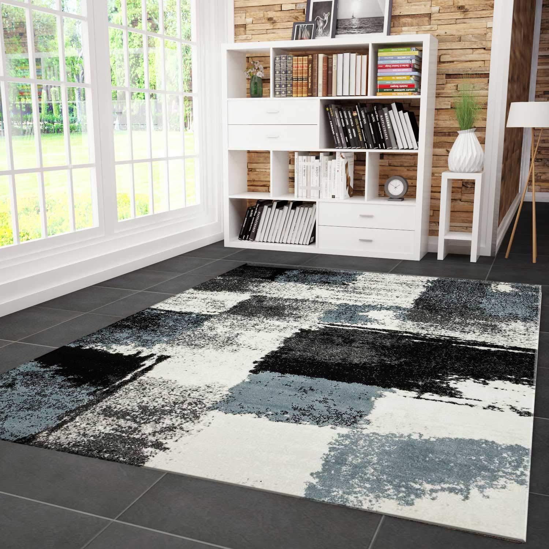 VIMODA Teppich Modern Designer Abstrakt Kariert Meliert Farbe Turkis Grau Schwarz Maße  200x290 cm