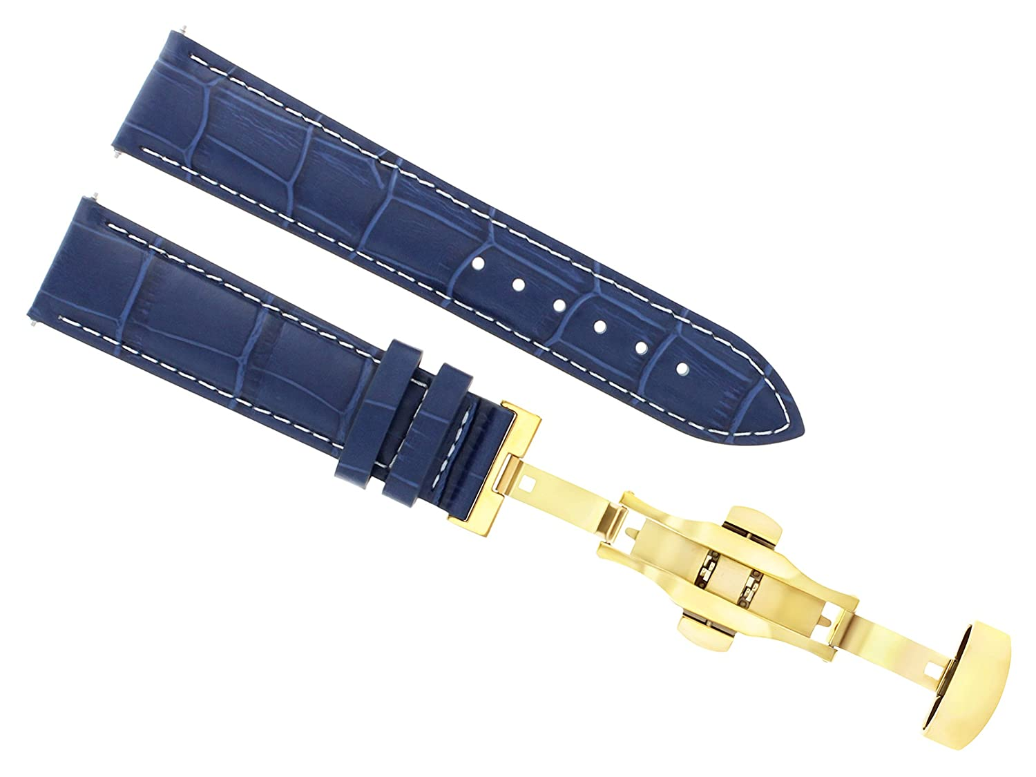 18 – 19 – 20 – 21 – 22 – 23 – 24 mmレザーバンドDeployment Clasp for MONTBLANC 3bゴールド 22mm Blue with white stitching  Blue with white stitching 22mm B07DHMSDJM
