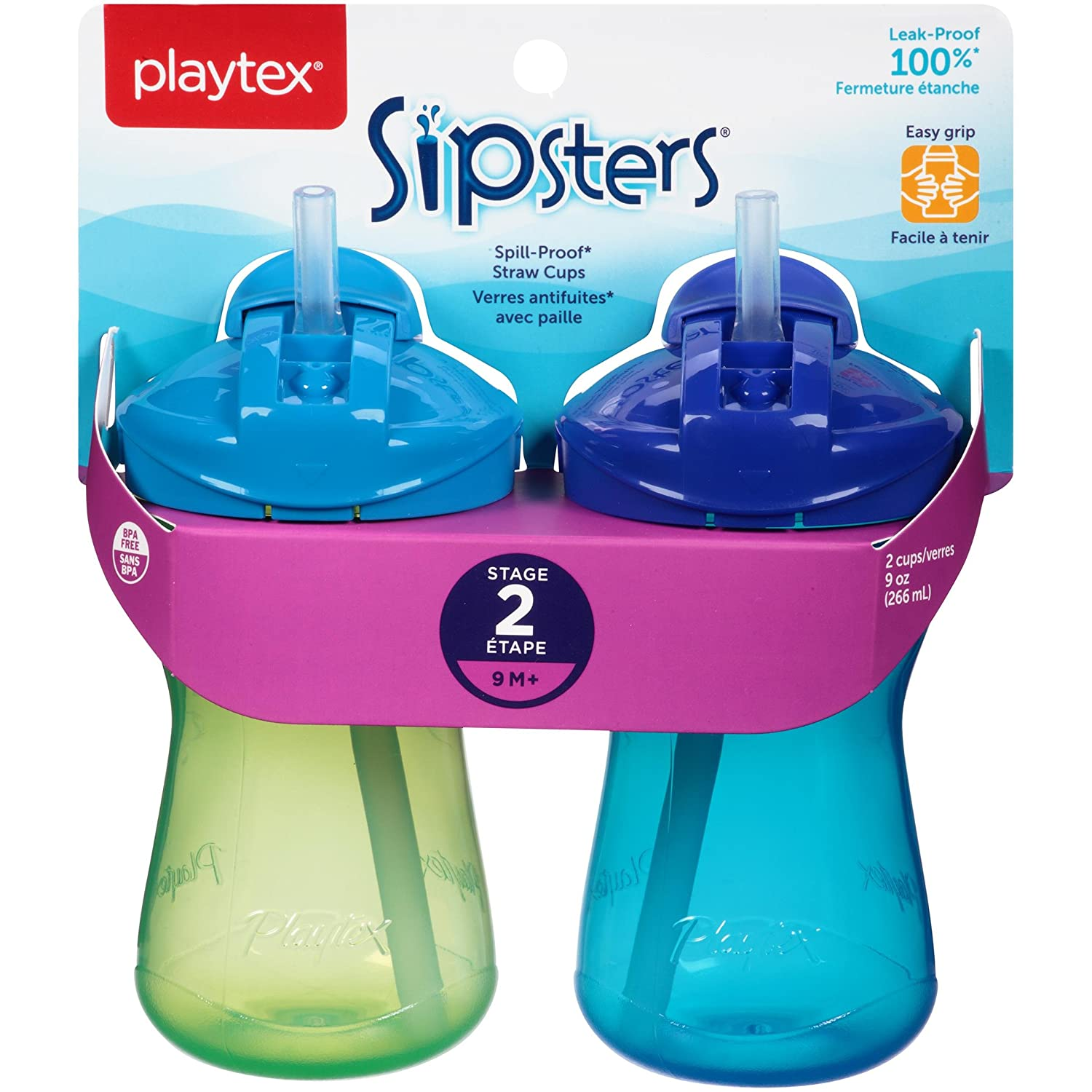 Playtex Sipsters Stage 2 Spill-Proof, Leak-Proof, Break-Proof Straw Sippy Cups - 9 Ounce - 2 Count (Colors May Vary) 5937