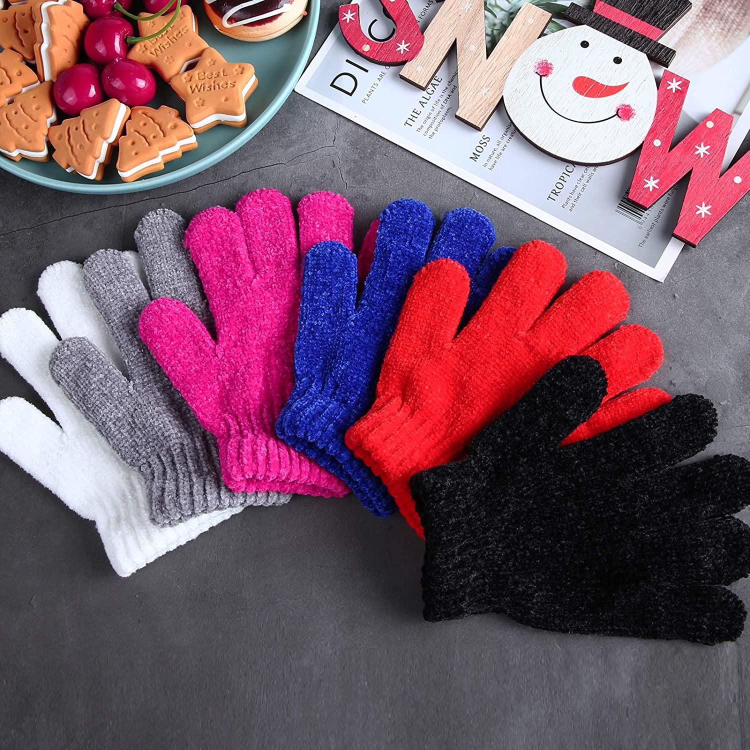 Cooraby 12 Pairs Kids Warm Gloves Chenille Cashmere Stretchy Knitted Gloves for Boys Girls