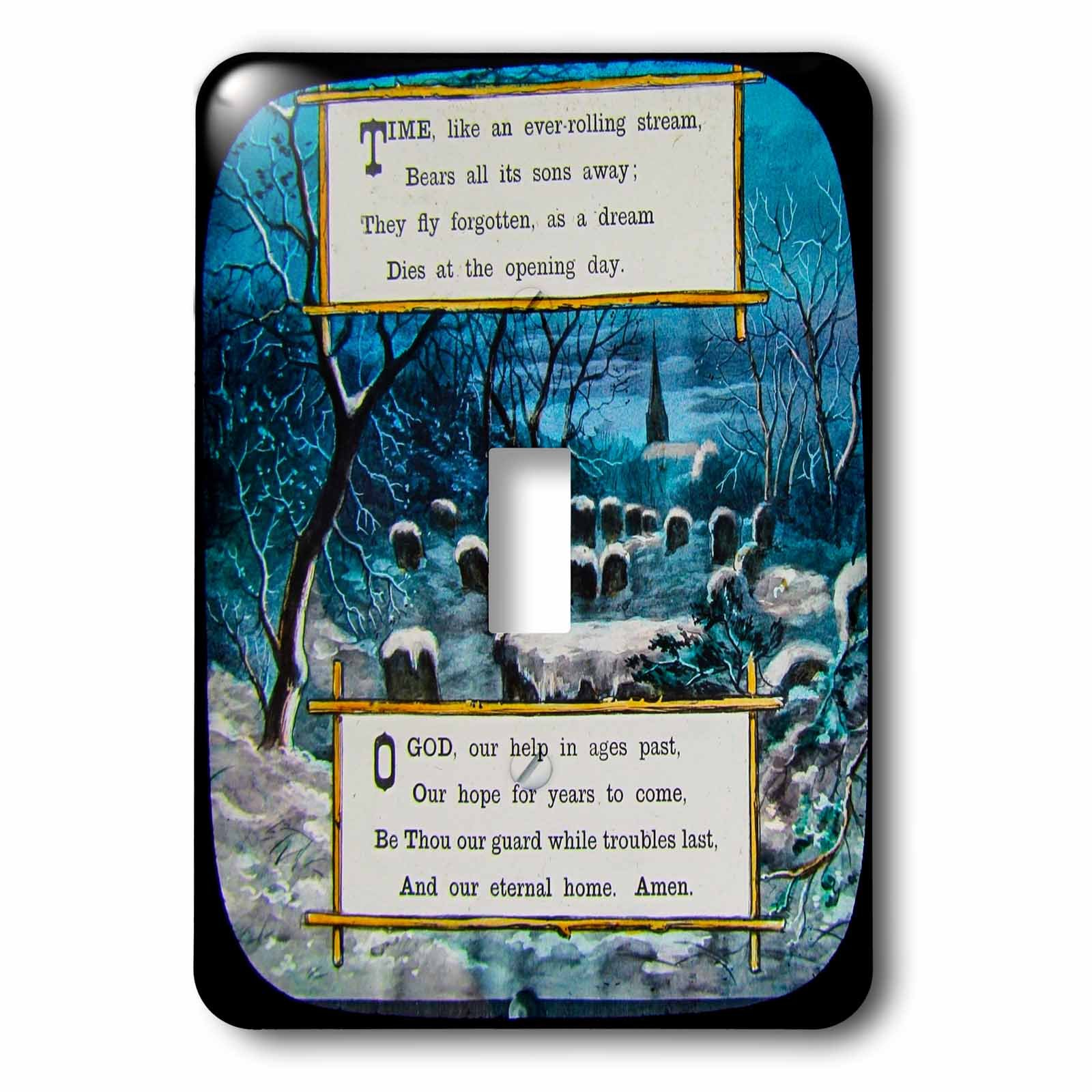 3dRose Scenes from the Past Magic Lantern Slides - O God Our Help in Ages Past Circa 1890s Christian Prayer Vintage - Light Switch Covers - single toggle switch (lsp_269879_1)