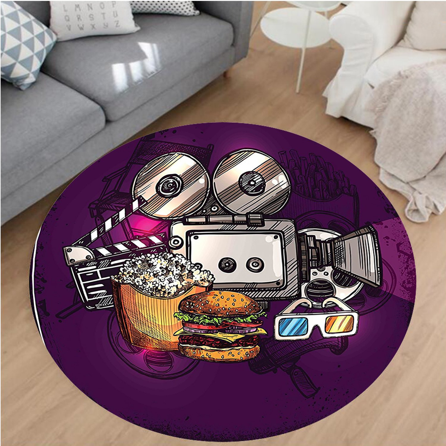Nalahome Modern Flannel Microfiber Non-Slip Machine Washable Round Area Rug-or Cartoon like Cinema Movie Image Burgers Popcorns Glasses Art Print Plum Ginger Dimgrey area rugs Home Decor-Round 67''
