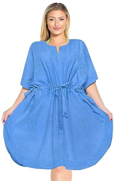 6db5de1cfd76 LA LEELA Mujer Kaftan Rayón Túnico Bordado Kimono Estilo Más tamaño Vestido  para Loungewear Vacaciones Ropa. Pasa el ratón por ...