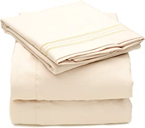 Sweet Home Collection 4 Piece 2000 12 Colors Collection Egyptian Quality Deep Pocket Bed Sheet Set, Queen, Beige