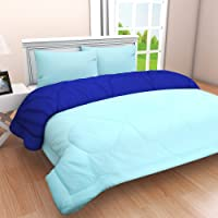 Clasiko Reversible Double Bed King Size Comforter/Duvet for Summers/Ac; Color - Glorious Green & Ablaze Aqua; Fabric - Micro Cotton; 300 GSM; Size - 230x254 Cms; Color Fastness Guarantee