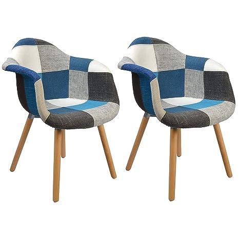 ArtDesign FR Conjunto de 2 Patchwork Sillón Tela de Lino Ocio Sala de Estar Sillas de Esquina Sillas de Recepción con Respaldo Cojín Suave (Azul)