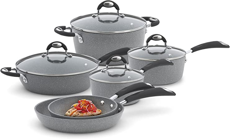 Bialetti 10 Piece Nonstick Granito Cookware Set, Oven Safe, Gray