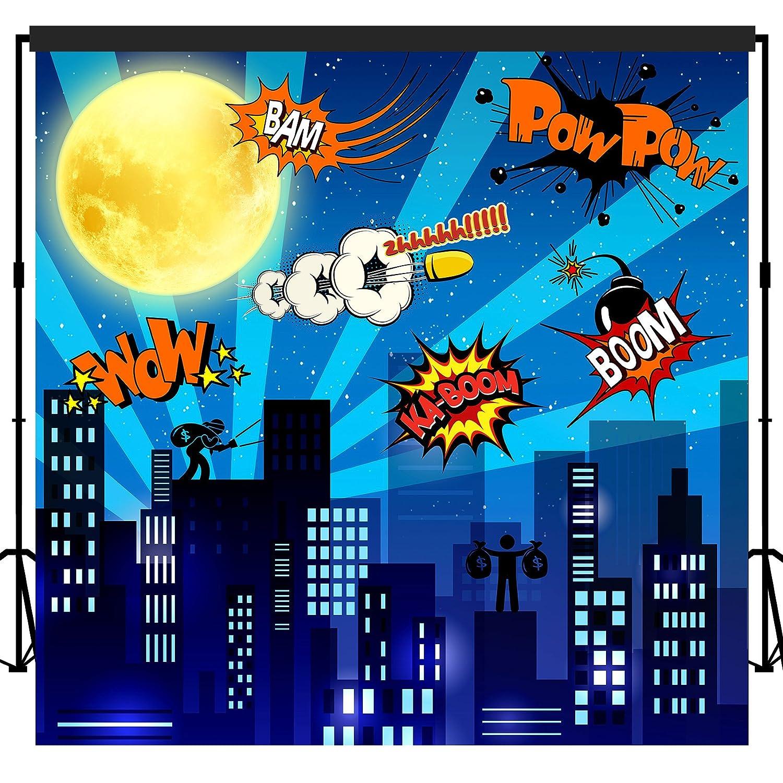 musykrafties Super Hero City Backdrop Banner Scene Setters 7x7 ft