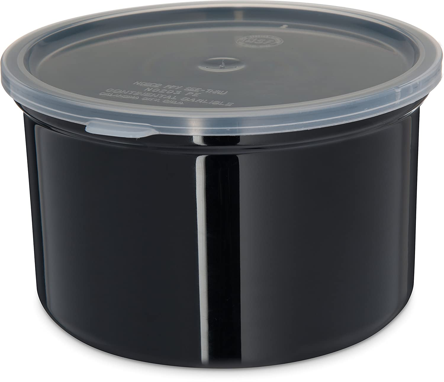 Carlisle 031603 Solid Color Commercial Round Storage Container with Lid, 1.5 Quart Capacity, Black