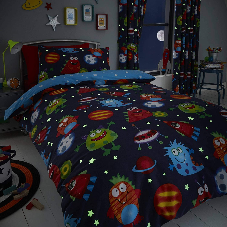 Set de fundas infantiles para edredón - Reversible - Estampado del espacio - Brilla en la oscuridad - Azul - Individual