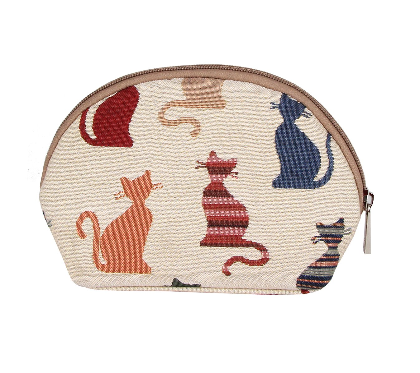Multi-colour Cat Print Tapestry Makeup Bag Travel Cosmetic Bag Brush Bag for Women Girls by Signare (COSM -CHEKY)