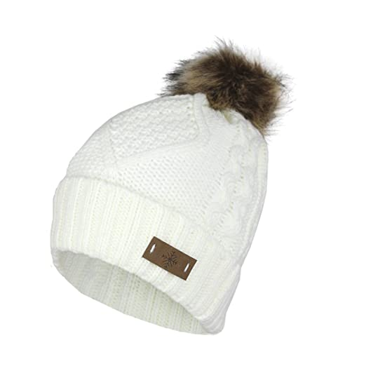 2d50e1df854 Cable Knit Ski Cuff Beanie Hat w Fur Pom Pom and Snow Tag- Soft Stretch  Winter Cap at Amazon Women s Clothing store