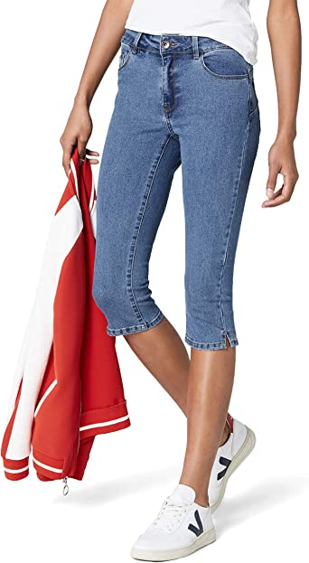 Vero Moda Vmhot Seven NW Dnm Slit Knicker Mix Noos Pantalones para Mujer