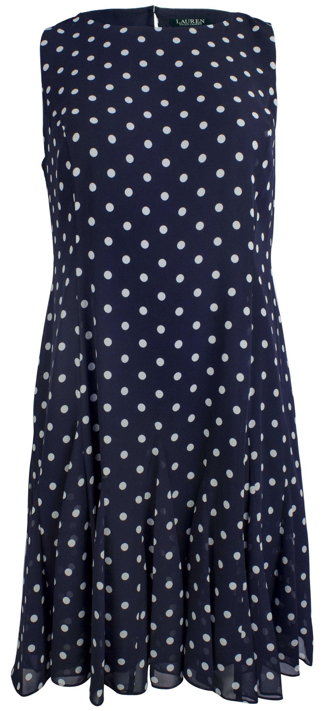 RALPH LAUREN Women's Plus Size Polka Dot Georgette Dress-LN-18W