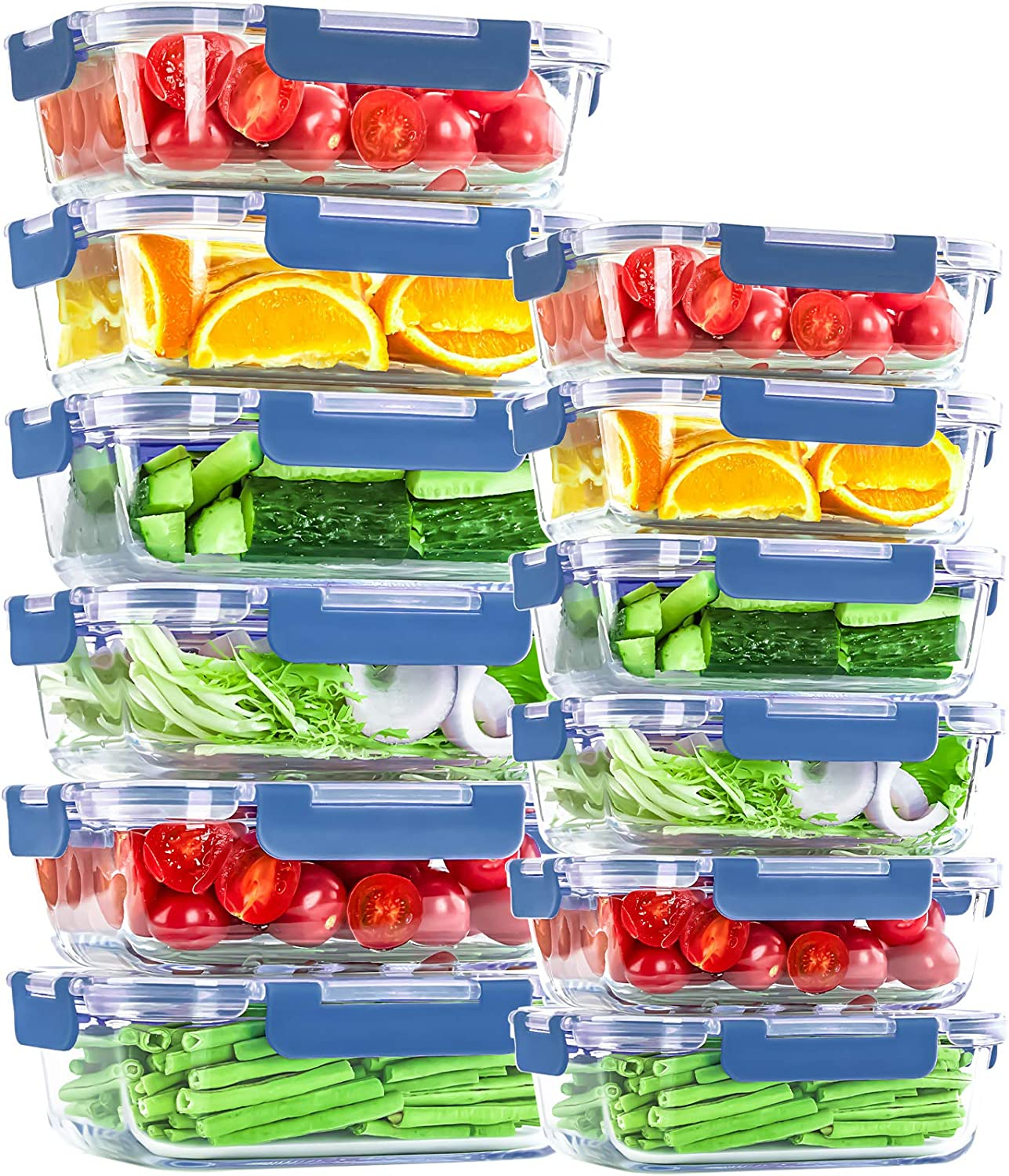 Glass Food Storage Bowls with Airtight Lids, 24 Piece 12 Pack Glass Food Storage Mixed Set