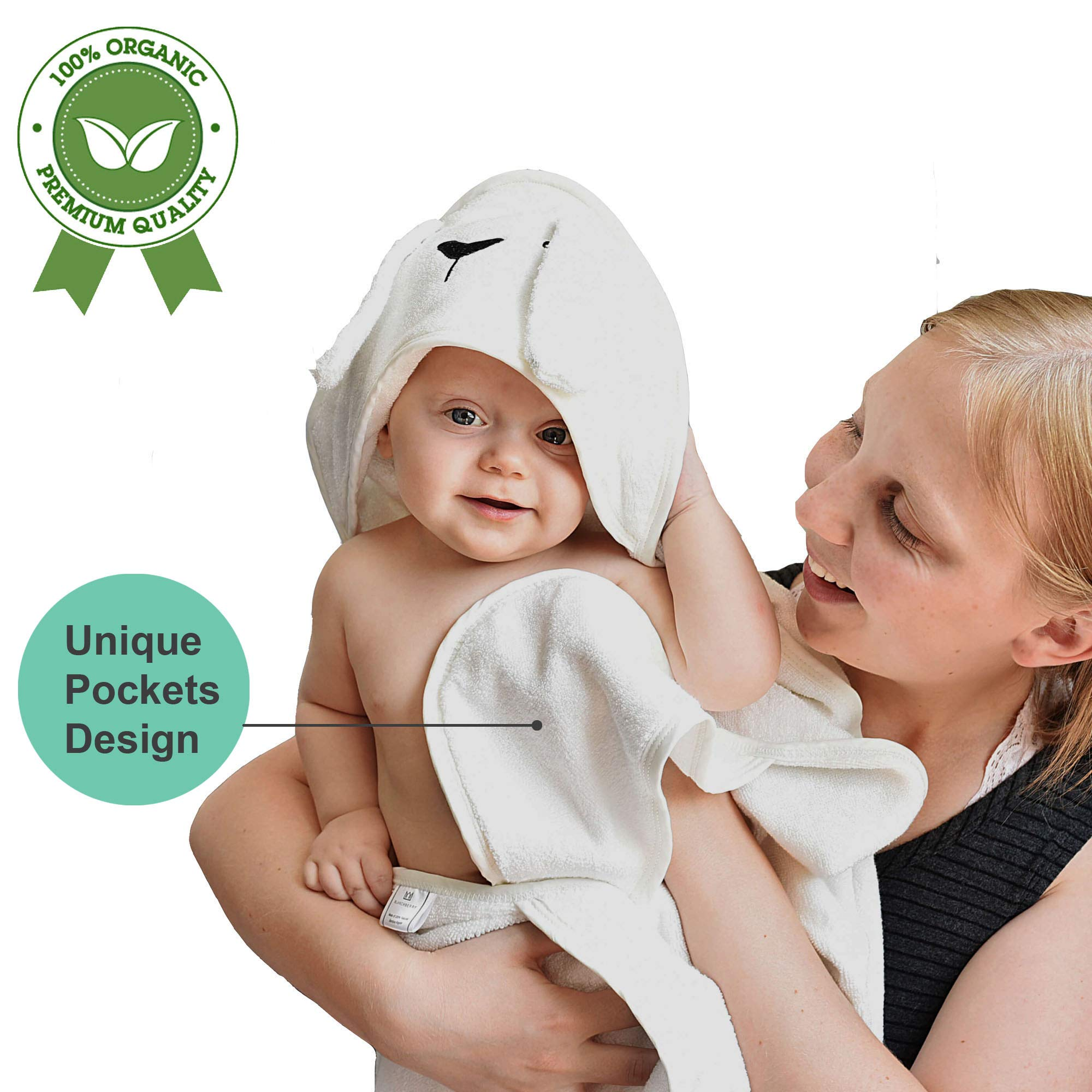 Hooded Baby Towel | Organic Bamboo Baby Towel with Pockets | 2 X Thick, Soft & Large | Baby Bath and Beach Towel for Boy or Girl | Baby Shower Gift