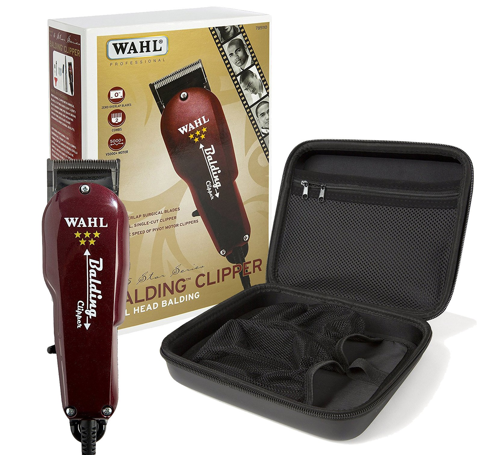 Wahl Professional 5-Star Balding Clipper #8110 with Travel Storage Case #90732 Great for Barbers and Stylists