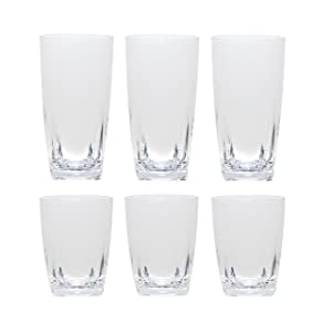 QG Clear Acrylic Plastic 16 & 26 oz Water Cup Square Base Tumbler Set of 6