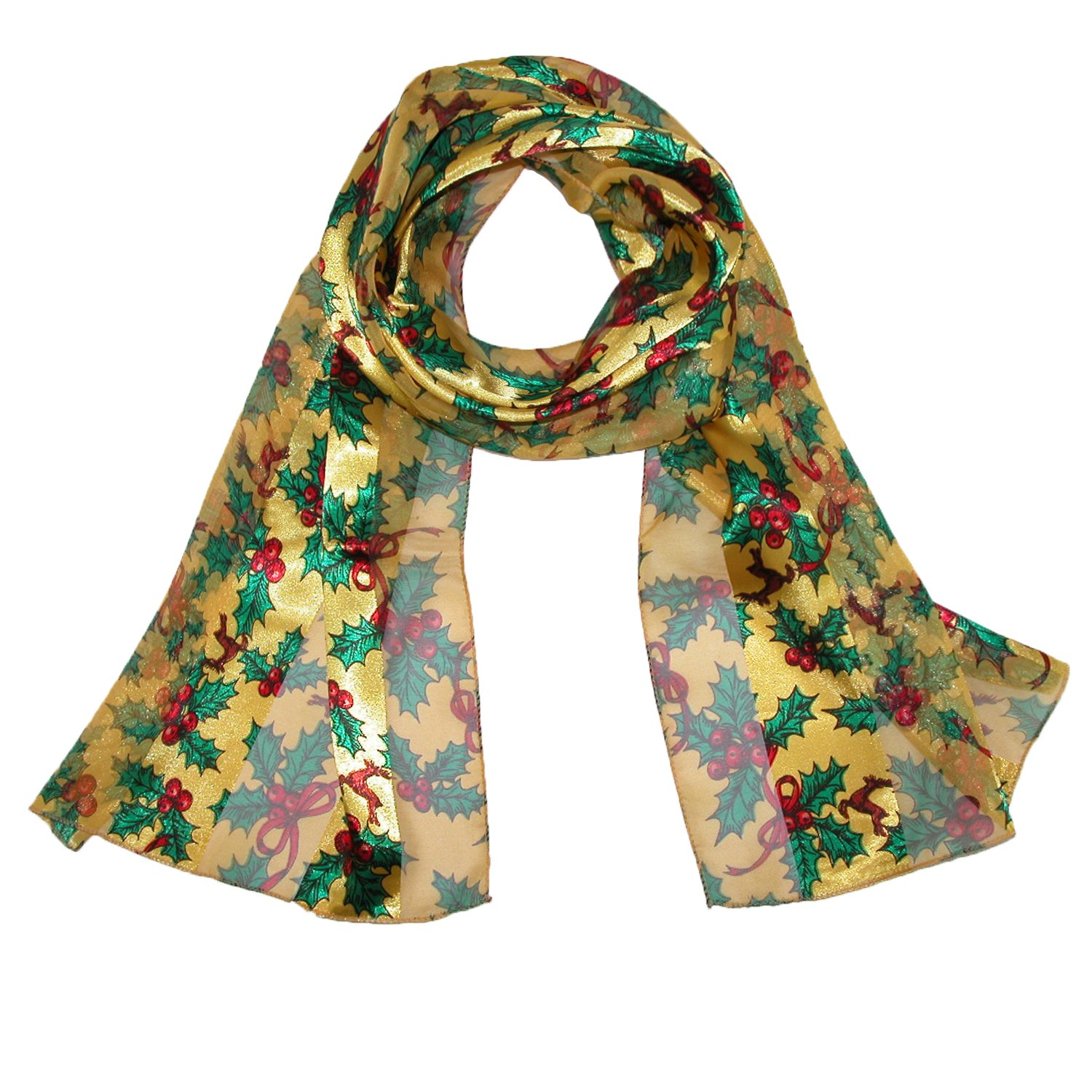 CTM Women's Long Satin Christmas Holiday Holly Leaves Scarf, Gold