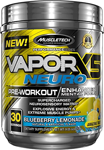 MuscleTech Vapor X5 Neuro Pre Workout Powder, Enhanced Mental Focus and Explosive Energy Supplement, Blueberry Lemonade, 30 Servings 9.6oz