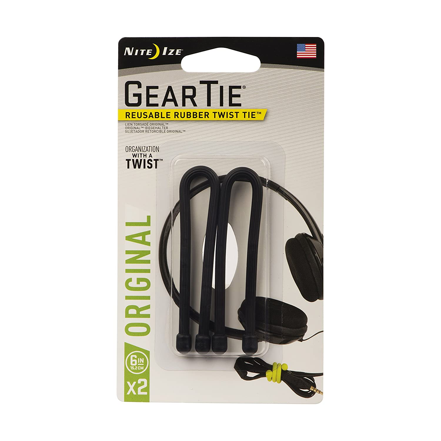 Nite Ize Original Gear Tie, Reusable Rubber Twist Tie, 6-Inch, Black, 2 Pack, Made in the USA