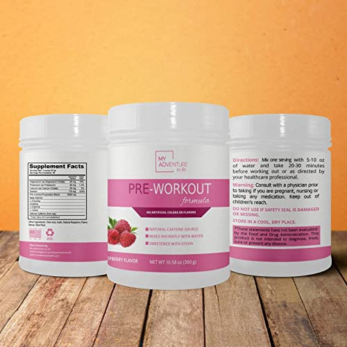 Natural PreWorkout – No Artificial Flavors, Colors or Sweeteners – Raspberry Flavor Stevia Sweetened