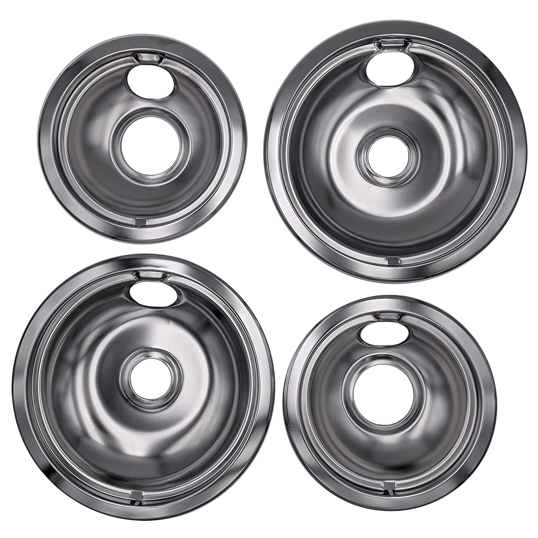 Supplying Demand W10196405 W10196406 4 Pack Chrome Drip Pan Set Fits Whirlpool