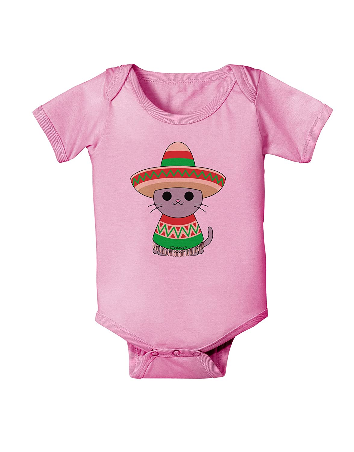 TooLoud Cat with Sombrero and Poncho Baby Romper Bodysuit