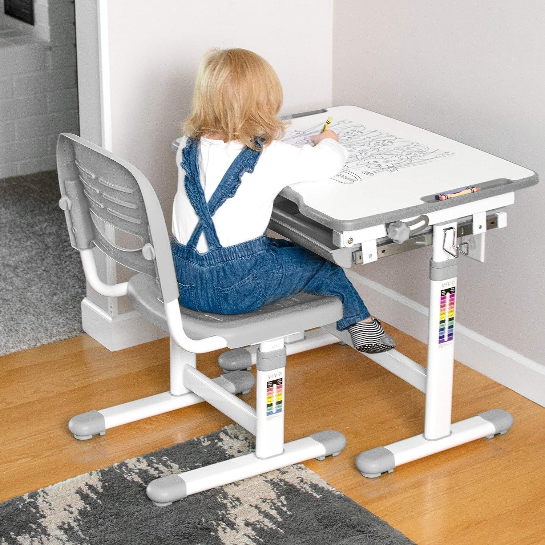 Grey Vivo Height Adjustable Childrens Desk And Chair Set