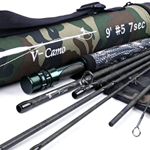 Maxcatch for Traveler 7-piece IM10 Carbon Travel Rod Fly Fishing with Cordura Tube