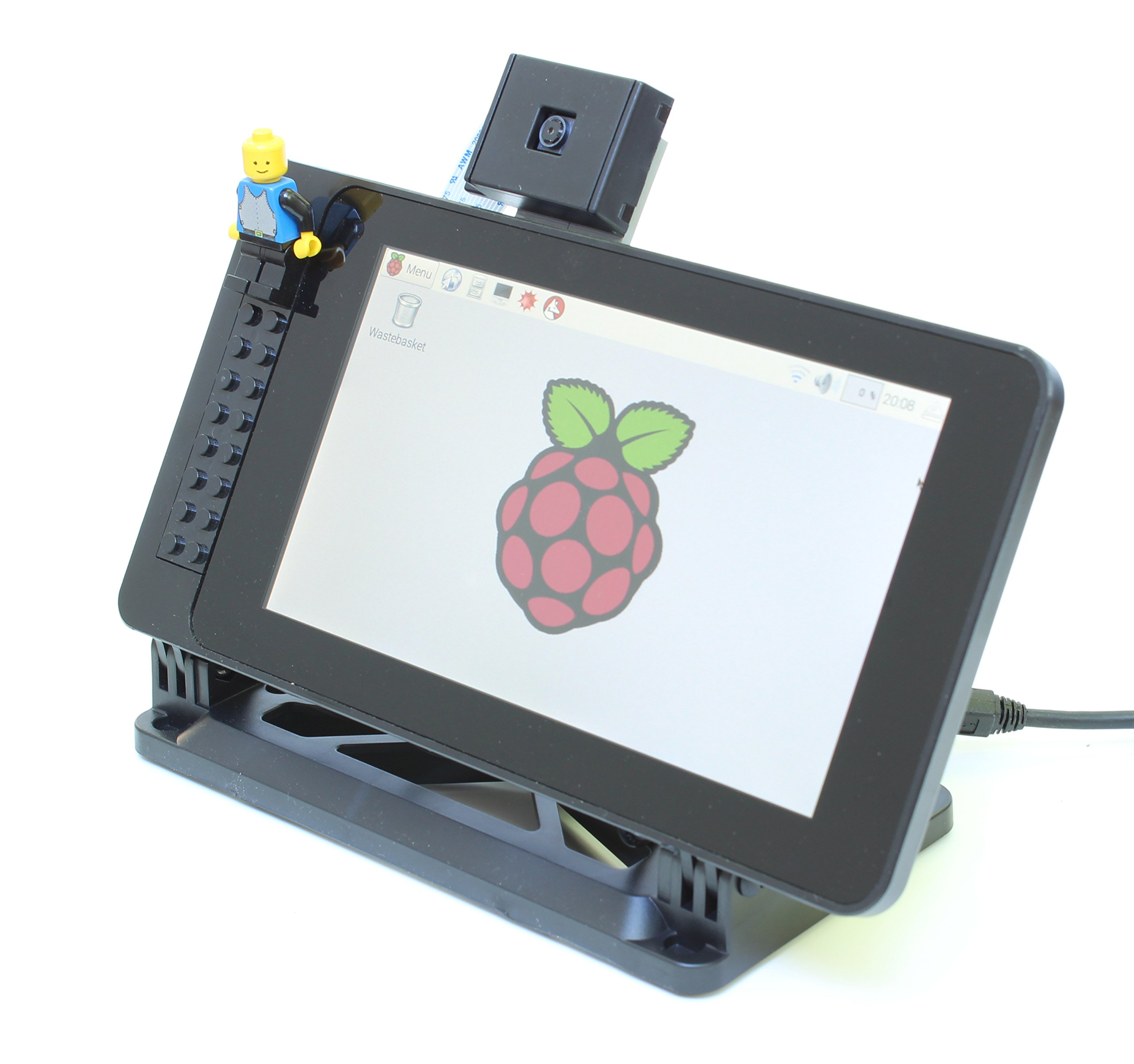 Case for The Official Raspberry Pi 7'' Touchscreen Display - Building Block Compatible Front and Adjustable Angle